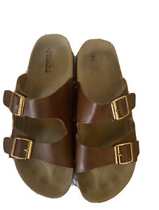 Mudd Women's Cork Footbed Sandal Brown Size 10, Pre-Owned, Double Strap, Slide