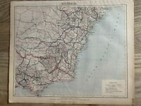1889 NEW SOUTH WALES & EASTERN VICTORIA ANTIQUE MAP BY LETTS, SON & Co.