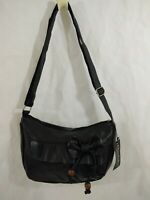 Black Handbag With Bow Beads Crossbody Medium Size NWT
