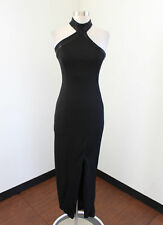 Vtg Cache Black Sequin Beaded Asymmetric Choker Collar Evening Formal Dress 2