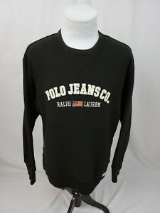 Polo Jeans Co Ralph Lauren Black Felt Spell Out Flag Logo Sweatshirt Mens Large