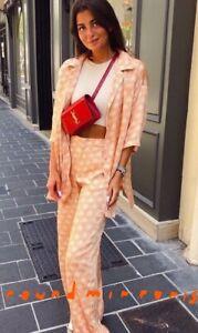 NWT Zara Palm Print Tangerine Pyjama Style Top Shirt & Trousers Pants Co Ord M
