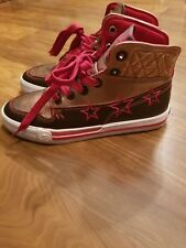 SHMACK CROWBAR BRONZE HI TOP SNEAKERS SIZE 7.5 BRONZE/WHITE/RED