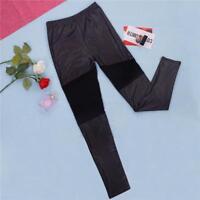 1 Stück Frauen Sexy Mesh PU Leder Patchwork Skinny-Leggings Mode best