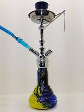 "18"" MODERN EXOTIC TALL SCREW ON HQ BLUE HOOKAH GLASS SMOKING PIPE 169"