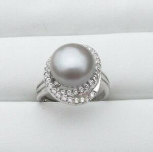 Perfect AAA 11-12mm South Sea Grey Pearl Ring + Adjustable