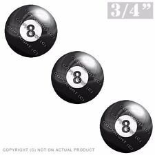 """3 Pack Gel Top Domed Glossy 3/4"""" 3M Premium Decal Stickers 8 BALL BLACK WHITE"""