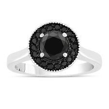 1.00 CARAT ENHANCED BLACK DIAMOND ENGAGEMENT RING 14K WHITE GOLD HALO PAVE