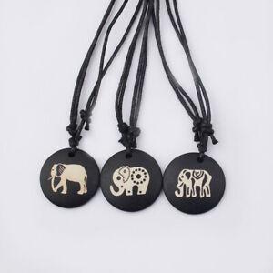 2 Pcs Ethnic Carved India Elephant Yak Bone Pendant Wax Cord Pendant Necklace