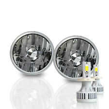 H5001 5.75 Round Sealed Beam Headlight Diamond Housing H4 LED Kit 6000K White -D