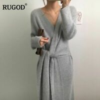 Belted Cashmere Sweater Dress Women Fashion Office Lady V Kneck Knitted Dress
