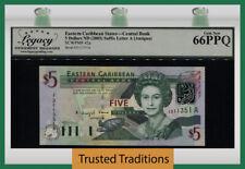 TT PK 42a 2003 EAST CARIBBEAN STATES 5 DOLLARS QUEEN ELIZABETH II LCG 66 PPQ GEM