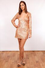 Stunning multi coloured pink sequin plunge neckline sequin dress Party clubbing