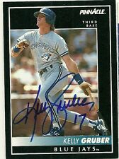 1992 Pinnacle KELLY GRUBER Signed Card BLUE JAYS autograph auto bellaire, tx