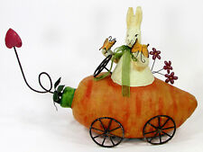 """BUNNY IN CARROT CAR 13""""x9"""" Figurine Easter Spring Butterfly Flower Paper Mache"""