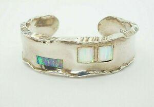 "Artisan JS Sterling Silver 925 Hammered Opal Inlay Cuff Bracelet 6.5"""