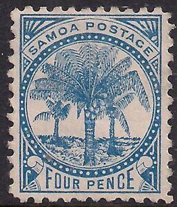 Samoa 1895 - 00 QV 4d Blue Mint No Gum Perf 11 SG 61 ( T617 )