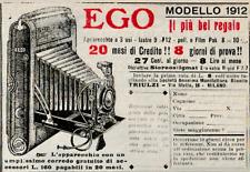PUBBLICITA' 1912 EGO MACCHINA FOTOGRAFICA SOFFIETTO MANIFATTURE TRIULZI LASTRE