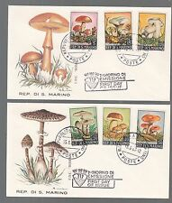 2 BUSTE FDC SAN MARINO ROMA  6 V. FUNGHI MUSHROOMS  1967 FIRST DAY COVER