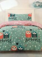 OWL OWLS BLUE/GREEN REVERSIBLE SINGLE bed QUILT DOONA DUVET COVER SET NEW
