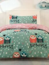 OWL OWLS BLUE/GREEN REVERSIBLE SINGLE bed QUILT DOONA DUVET COVER SET NEW