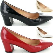 Ladies Low Mid Heel Pointed Toe Pumps Womens Smart Court Work Shoes New Size