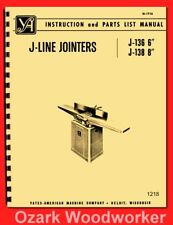 "Yates-American J-Line 6"" & 8"" JointersJ-136 J-138 Operator & Parts Manual 1218"