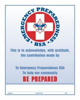 Boy Scout Official Emergency Preparedness Be Prepared Award Certificate 8.5 X10""