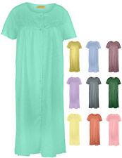 Ezi Women's Short Sleeve Button-Down Cotton Duster House Dress
