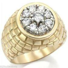 5 mm 0.62 Ct. April Clear CZ Brass Gold & Rhodium Men's Ring Jewelry Size 9