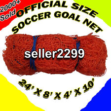 One Official Size 24' x 8' x 4' x 10' Soccer Goal Net Netting Orange Color Orono