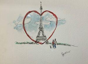 original ink watercolour Paris heart collectible illustration home dec wall art