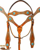 TURQUOISE BLUE BUCKLE BARREL RACING PLEASURE WESTERN LEATHER HORSE TACK SET