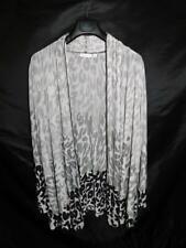 Susan Graver 2X Gray Black Leopard Print Cardigan Liquid Knit Mesh Shirt Tunic