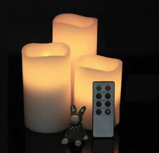 3x Warm White LED Dimmable Flickering Wax Candles Pillar Tea Lights Remote Timer