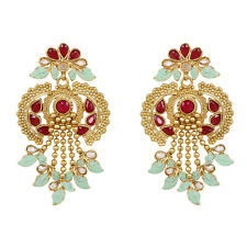 Indian Bollywood Gold Plated Ruby Stone Earring Traditional Wedding Ethnic Set