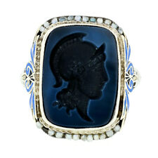 Antique Art Deco 14k White Gold Intaglio Agate Seed Pearl & Enamel Filigree Ring