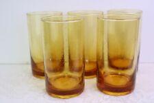 "5 Amber Bubble Glass Tumblers Wheat Yellow Tag LTD 22 oz 5 7/8 "" Drinking"