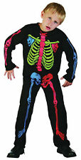 Skeleton Boy Coloured Bones Halloween Fancy Dress Costume 4-12 Years