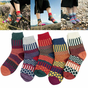 5 Pairs Winter Women Thick Warm Wool Cashmere Soft Solid Casual Sports Socks