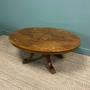 Spectacular Inlaid Walnut Antique Coffee Table