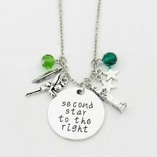 """SECOND STAR TO THE RIGHT CHARM NECKLACE 18"""" Peter Pan Disney Inspired Pendant"""