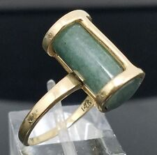 VINTAGE HANDCRAFTED 14 KARAT YELLOW GOLD GREEN JADE MODERNIST BARREL RING