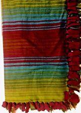 ACRYLIC Striped Blanket Throw Purple Teal REVERSIBLE Soft PLUSH Handmade USA