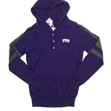 Cutter & Buck Womens M Kate Henley Sweater Hooded TCU Embroidered Logo Stretch