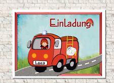 Einladungskarte Kindergeburtstag Mit Umschlag Motiv Feuerwehrauto