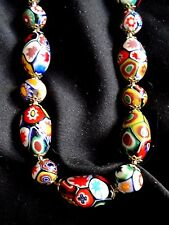 VINTAGE VENETIAN MILLEFIORI ART GLASS OVAL & ROUND BEAD ADJUSTABLE NECKLACE 18""