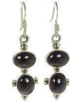Garnet Drop Earrings ' Solid 925 Sterling Silver