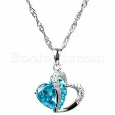 "Silver Tone Accent Love Heart Shape Pendant Necklace w 18"" Chain Ladies Gifts"