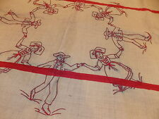 "Antique Folk Art Tablecloth Dutch Children 60"" Red Embrodered Holiday Holly"
